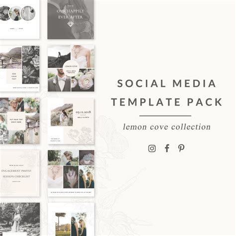 Social Media Templates Lemon Cove Collection For Instagram Pinterest Facebook More Social Media Templates 2017