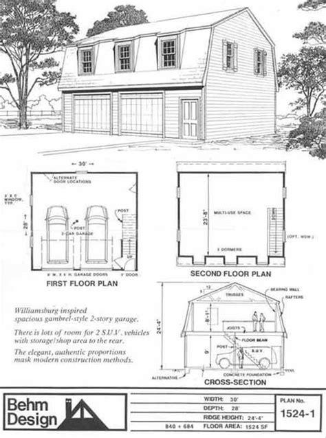 Gambrel Garage Plans colonial gambrel garage plans with loft 1524 1 by behm