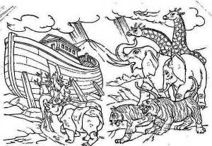 coloring page a pair of each animal onboard the noahs ark sketch template