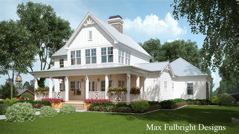 Farmhouse Building Plans 2 Story House Plan With Covered Front Porch Car Garage Porch And