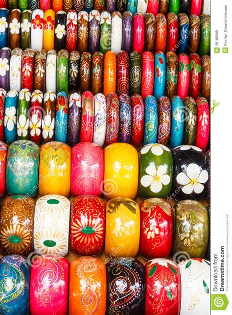 Colorful Wooden Hand painted Bracelets Stock Photo   Image: 25185900