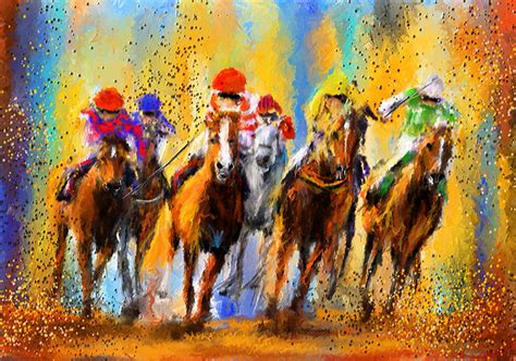 Colorful Racing Impressionist Paintings Painting By