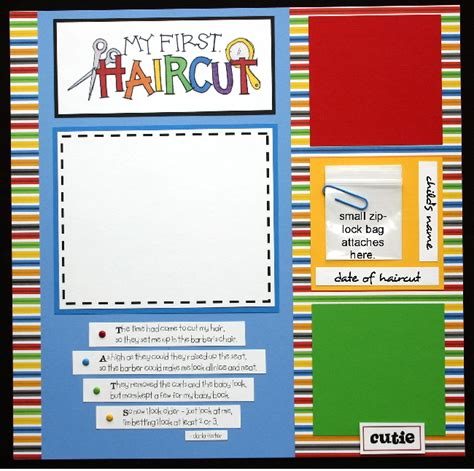 scrapbook layout for first haircut my first haircut premade scrapbook page boy girl baby ebay