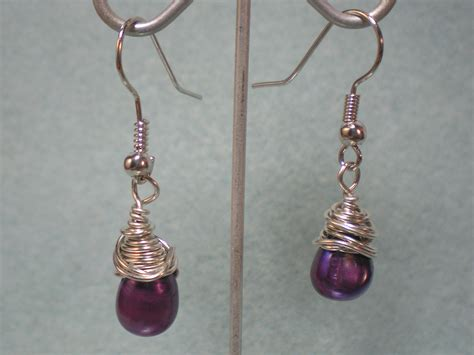 how to make wire jewelry earrings wire wrapped purple pearl earrings tutorial