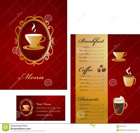 menu cards templates for restaurant menu and business card template design coffee stock