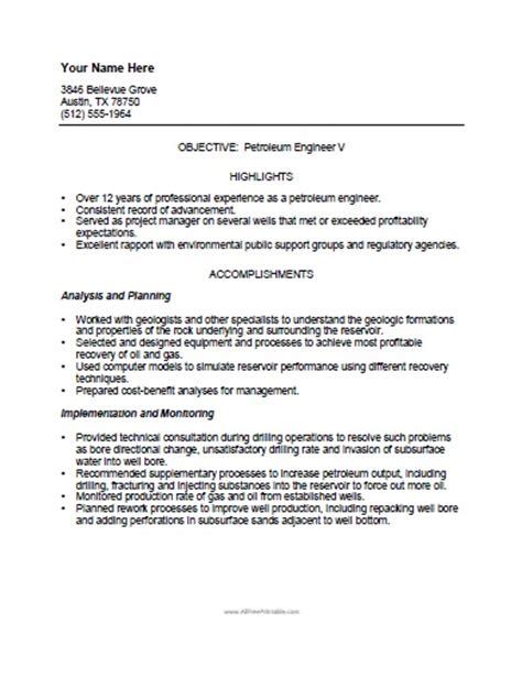 resume exle free printable resume sles free