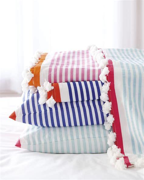 pom pom bedding love these striped linens with mini pom pom fringe