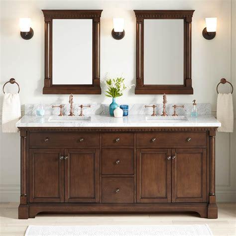 claudia double vanity  rectangular undermount sinks antique coffee bathroom