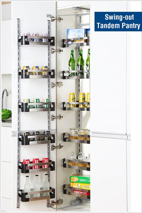 stainless steel swing out pantry pull out tandem pantry unit slide stainless steel tray