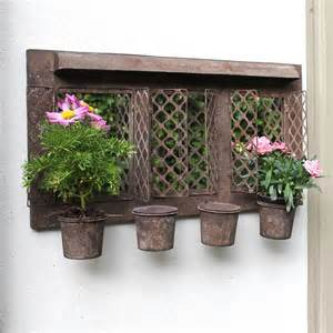 Metal Outdoor Planters Rustic Style Metal Garden Wall Mirror With Planter Plant