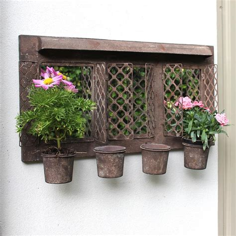Rustic Style Metal Garden Wall Mirror With Planter Plant Wall Garden Pots