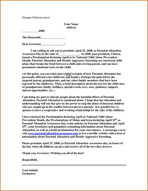 Resume Divorce Letter Format 11 Writing A Petition Letter For Lease Template