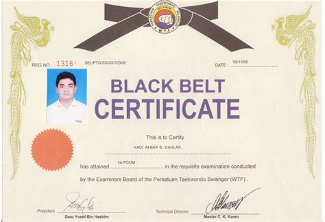 Taekwondo Certificate Template black belt certificate template quotes