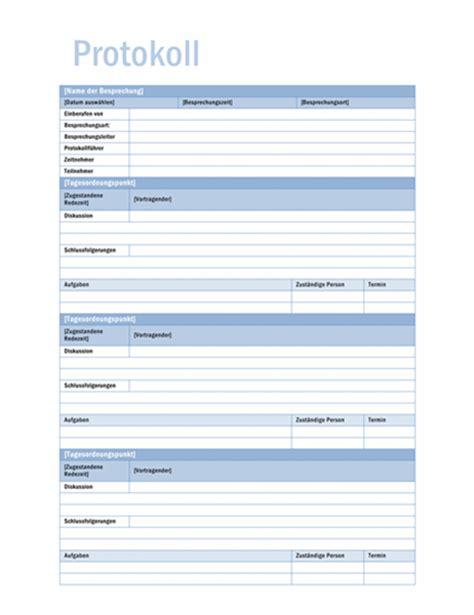 Template Protokoll Vorlage Zeitpl 228 Ne Office