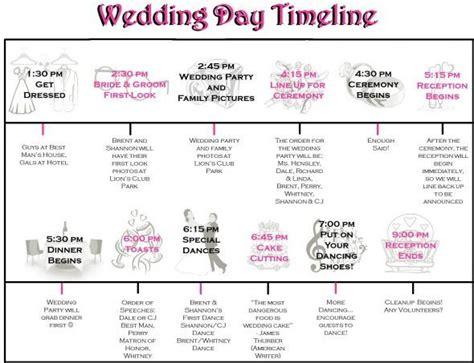 Wedding Day Timeline by Wedding Day Timeline Exle Via Weddingbee