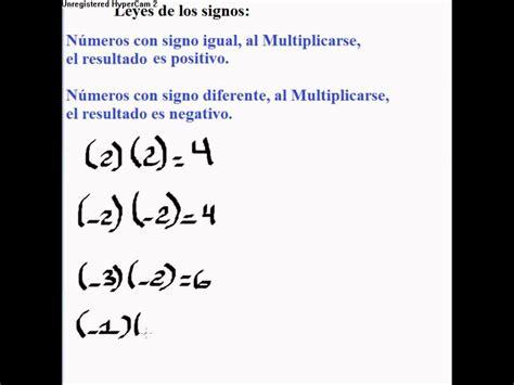 la ley de los leyes de los signos de la multiplicaci 243 n youtube
