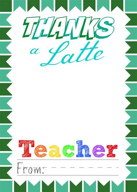 thanks a latte starbucks gift card template free printable appreciation gift card holders