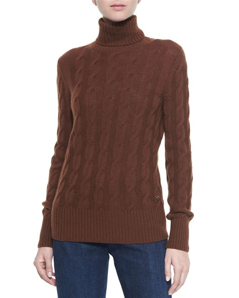 cable knit turtleneck loro piana cable knit turtleneck sweater in brown