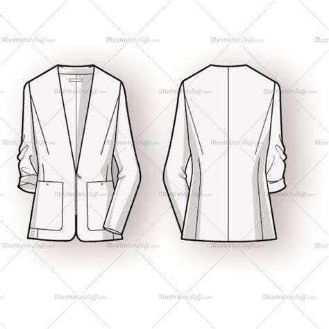 jacket design sketch women s blazer fashion flat template illustrator stuff