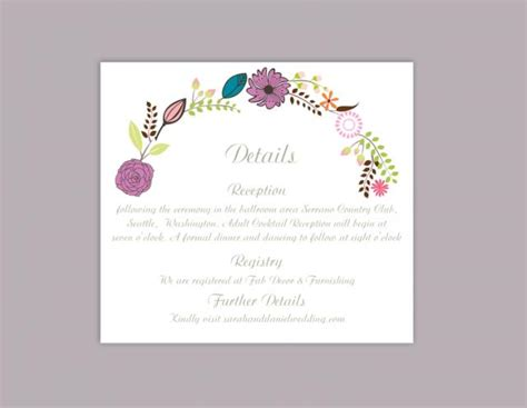 free printable enclosure card templates diy wedding details card template editable word file