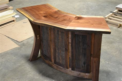 Build Your Own Patio Table by Hand Crafted Live Edge Walnut And Reclaimed Curved Bar