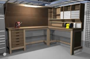 garage bench designs garage shop corner l shape workbench design woodworking