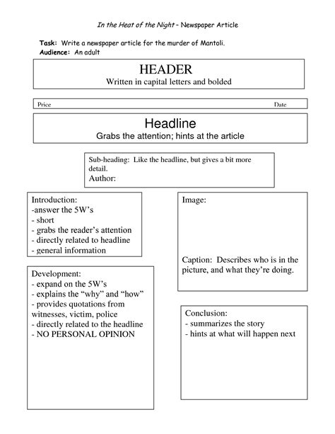 templates for writing newspaper articles best photos of sle newspaper article writing story