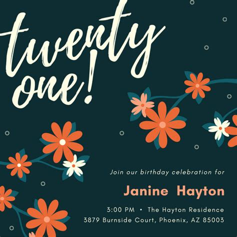 21 birthday invitation templates 21st birthday invitation templates canva