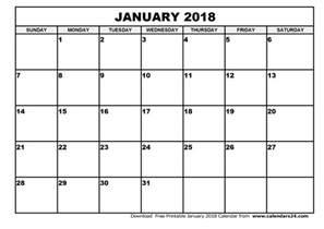 Calendar Printable January 2018 January 2018 Calendar February 2018 Calendar