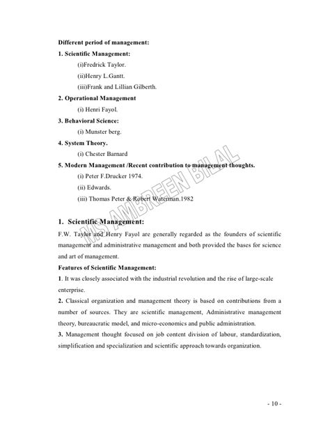 Principles Of Management Notes For Mba by Principles Of Management Lecture Notes For Mba
