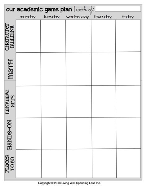 weekly academic planner template 8 best images of printable schedule free