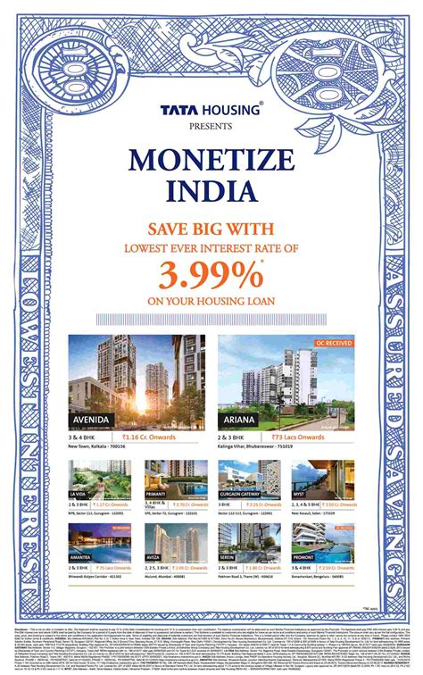lowest interest rate for housing loan tata housing presents monetize india with the lowest interest rate of 3 99 on your