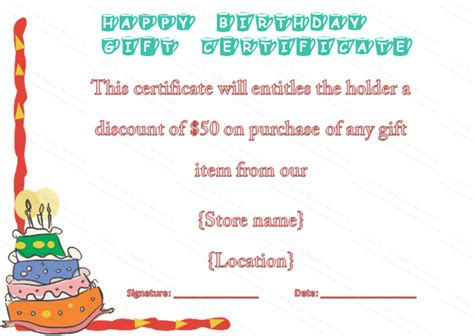 free printable gift certificates for cakes cake border birthday gift certificate template