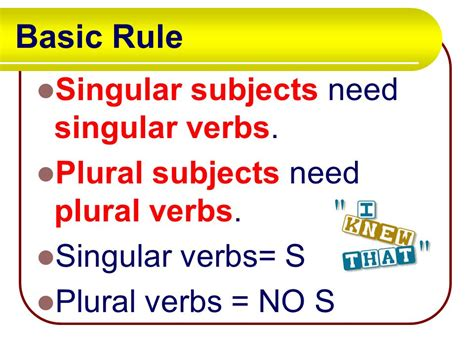 Is S Verb subject verb agreement ppt
