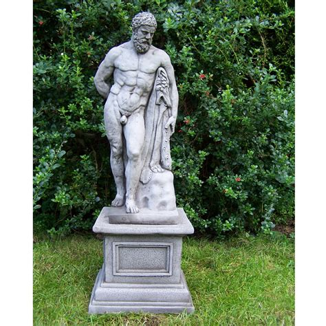 statue garten large antique hercules and plinth cast garden