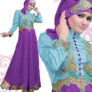 baju gamis satin princess biru ungu busana muslimah