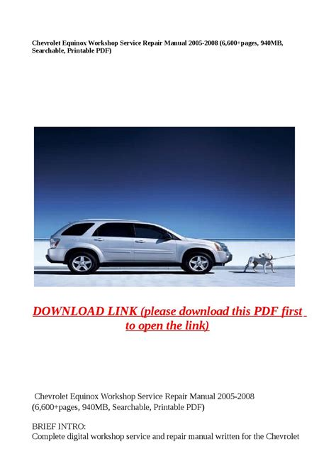 how to download repair manuals 2009 chevrolet equinox regenerative braking chevrolet equinox workshop service repair manual 2005 2008 6 600 pages 940mb searchable