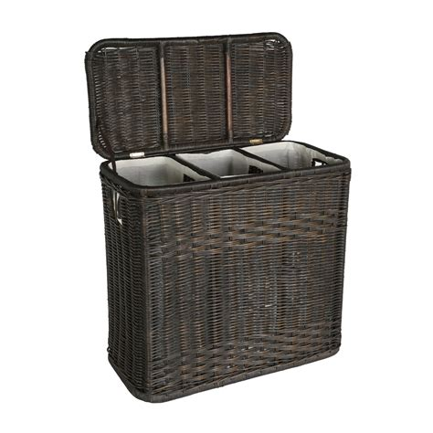 3 compartment laundry 3 compartment wicker laundry her the basket