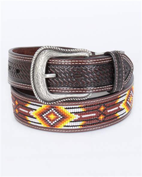 mens beaded belt cowboy chrome 169 s orange indian bead belt fort brands