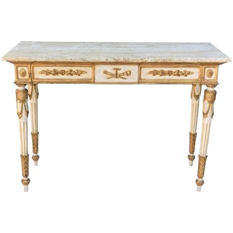 Venetian Console Table Painted And Parcel Gilt Venetian Console Table With Marble Top For Sale At 1stdibs