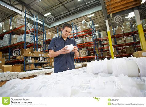 Production Worker by Factory Worker Checking Goods On Production Line Royalty Free Stock Photography Image 29348787