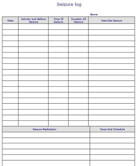 seizure diary template seizure diary