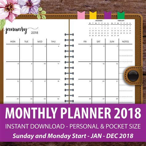Printable Monthly Planner 2018 Monthly Calendar Planner Pocket Calendar Template 2018