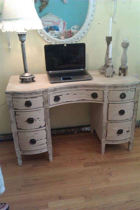 vintage desk vanity shabby distressed chic office computer
