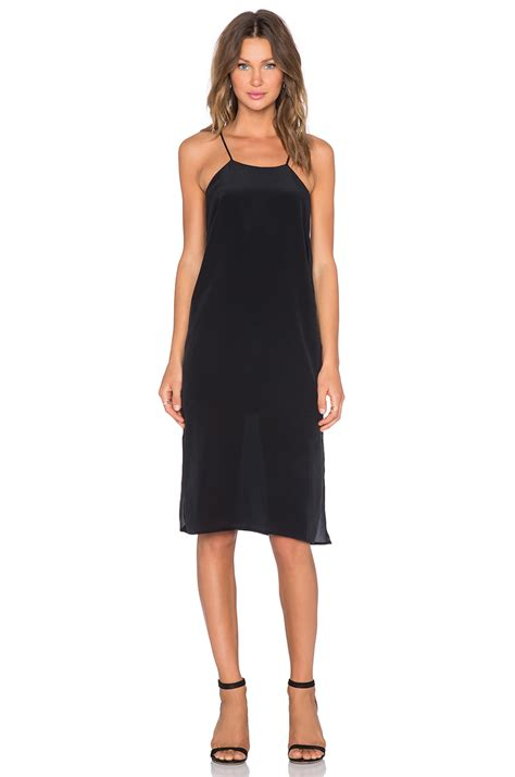 Silk Dress Black 1 lyst anine silk dress with thin straps in black