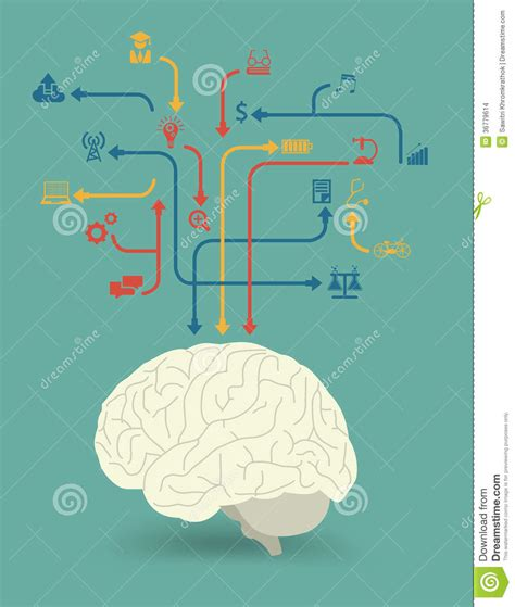 creative workflow vector creative brain power for different purposes stock