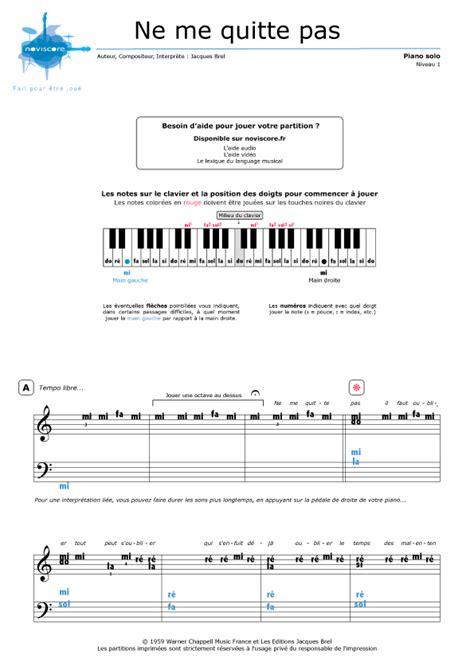 tutorial piano ne me quitte pas piano sheet music ne me quitte pas jacques brel