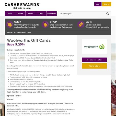 woolworths e gift card 5 25 off via cashrewards 48 hours only ozbargain - Woolworths E Gift Card