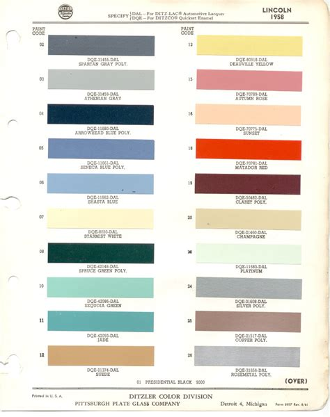 paint chips 1958 lincoln
