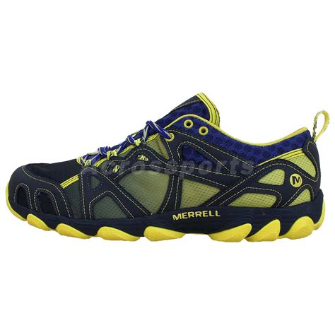 hiking water shoes merrell hurricane lace navy yellow 2014 mens outdoors